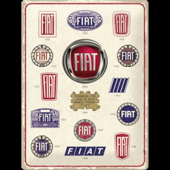 FIAT лого еволюция - ретро-табела, проследяваща развитието на логото на FIAT през годините.