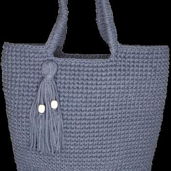дамска ръчно плетена чанта - дънково синя