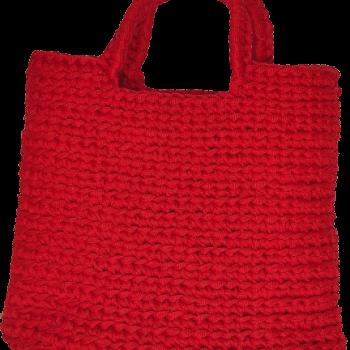 дамска ръчно плетена чанта - червена